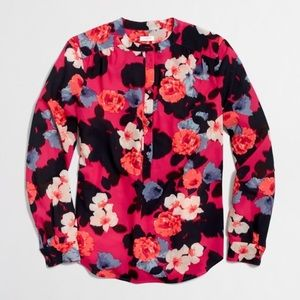 J Crew Factory Floral Printed Henley Blouse